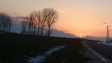 sunset nature winter snow