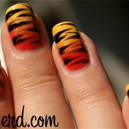 girls cute creative nails color splash nail art