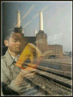 buildings reflection windows train london people